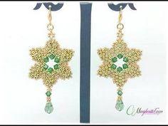 ▶ Tutorial perline Natale: come fare orecchini gold star con perline farfalla. - YouTube