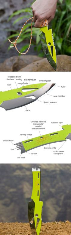 Urchin Sky THE KNIPER Tactical Survival Multi Utility Tool Knife Blade in Lime Green Stainless