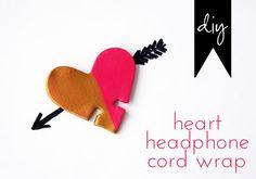 idlewife: envoltura de cable de los auriculares del corazón bricolaje