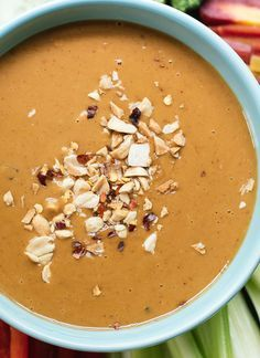 Healthy peanut sauce to serve as dip or drizzle over Asian dishes! You can toss this savory peanut sauce with noodles, too. It's good every which way!