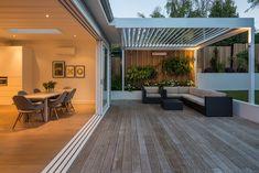 Pergola For Small Patio Outdoor Blinds, Outdoor Rooms, Outdoor Living, Indoor Outdoor, Pergola Patio, Backyard, Covered Deck Designs, Back Garden Landscaping, Alfresco Designs