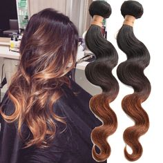 """3Bundles 12""""14""""16""""1B/4/30# Ombre Body Wave Human Hair Weft Grade 6A Extensions #Wigiss #HairExtension"""