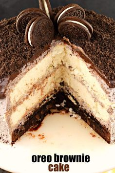 Oreo Brownie Cake is a decadent treat with three layers! Starting with a brownie base and topped with two layers of white cake, this cake is covered with Oreo frosting and chocolate ganache! Best Dessert Recipes, Cupcake Recipes, Easy Desserts, Sweet Recipes, Baking Recipes, Delicious Desserts, Cupcake Cakes, Cupcakes, Pie Recipes