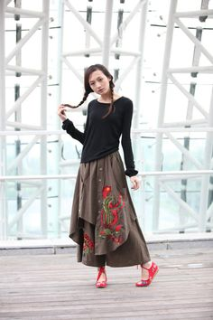 Army Green Casual Indian Wide Leg Skirt Pants With Embroidery Pattern - NC217