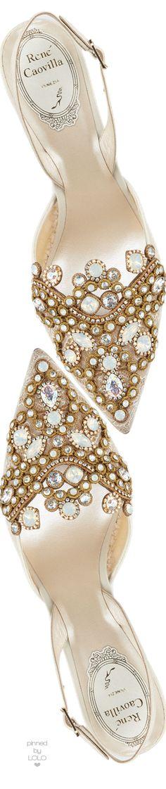 Rene Caovilla Jeweled Lace & Leather Halter Pump   LOLO❤︎