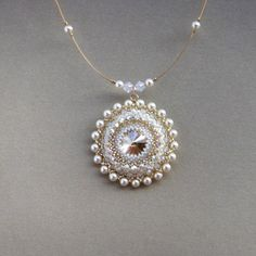 Bridal pearl necklace pendant, Wedding Pearl necklace, Swarovski pearl necklace, Mandala necklace, Bridesmaid gift, Big pendant necklace