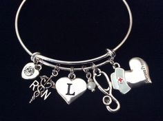 Custom Design Nurses Prayer with Initial Charm RN (Registered Nurse) with Moonstone Silver Expandable Bracelet >>> A special product just for you. See it now! : Handmade Gifts