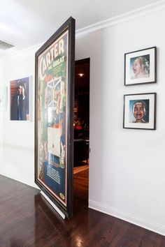 Not everyone has a secret room to conceal, so it's good to know you can even hang a big piece of art on a stationary wall.