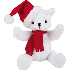"""7"""" Holiday themed plush animal toy stuffed animal, wearing red hat and scarf. Plush holiday fun. Accessories priced separately. Stuffed Animal, plush toy, stuffed toy, custom."""