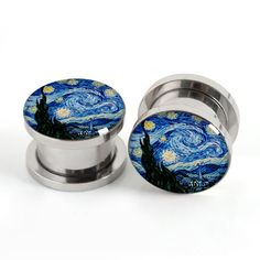 Starry Night Stainless Steel Plugs-StretchersArt by EarsPlugs
