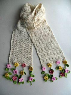 Items similar to Cashmere scarf,Hand crochet flowers long scarf long knitting scarf flowers tassel scarf pure wool neckwarmerwinter scarf gift on Etsy - Knitted Kitten - Crochet Flower Scarf, Crochet Jacket, Freeform Crochet, Crochet Shoes, Crochet Scarves, Crochet Flowers, Hand Crochet, Knit Crochet, Irish Crochet