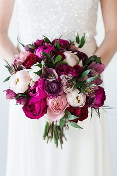 Purple Wedding Flowers Bouquets you want at your winter wedding - You've planned the perfect winter wedding, only thing left is the flowers. See some of the most swoon-worthy winter wedding bouquets the internet has to offer. Winter Wedding Flowers, Bridal Flowers, Purple Wedding, Floral Wedding, Trendy Wedding, Fall Wedding, Bright Wedding Colors, Wedding Stage, Winter Weddings