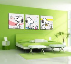 Bernice -Canvas Art,Canvas Print,Stretched and Framed,Lovely Painting,Snoopy,3 Panel Print,Hot Sell Modern Canvas Wall Art Decor, Beautiful Decorative Picture in Bed Room: Amazon.co.uk: Kitchen & Home