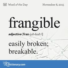 Dictionary.com's Word of the Day - frangible - easily broken; breakable: Most frangible toys are not suitable for young children.