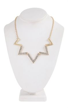 Deb Shops Short Necklace with Stone Point Design $10.00