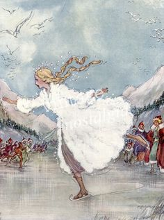 Ice Queen Ice Skating, vintage illustration