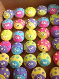 Ladybug #Cupcakes In wonderfully bright and different colours - These are very cool! :-) We love!
