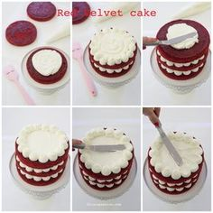 New Recipes Easy Cake Red Velvet Ideas Mini Cakes, Cupcake Cakes, Cupcake Recipes, Dessert Recipes, Bolos Naked Cake, Bolo Red Velvet, Cake Decorating Tips, Decorating Supplies, Drip Cakes