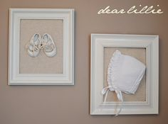burlap with booties and bonnet in the frame or any other special baby items you and Chris might have