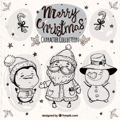 Sketches of funny christmas characters with hats Free Vector