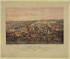Bird's eye view, Centennial Buildings, Fairmount Park, Philadelphia  1876