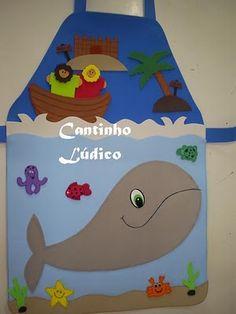 Avental de história - Jonas.  http://cantinholudicodagre.blogspot.com.br/2010/08/aventais-de-historia.html