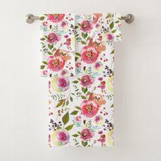 Spring Bloom Bathroom Bath Towel Set - chic design idea diy elegant beautiful stylish modern exclusive trendy