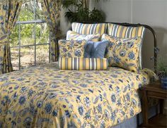 French Blue and Yellow Bedding | Cherborg Blue and Yellow Floral 9 Pc. Grand Suite Luxury Comforter Set ...