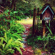 Looking up the garden path magical fairy house in the mailbox.