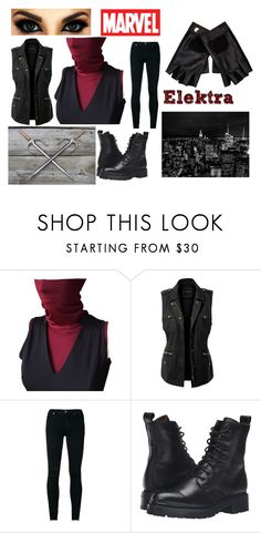 """""""Marvel's Elektra cosplay"""" by daisylcurtis ❤ liked on Polyvore featuring LE3NO, J Brand, Frye, Marvel and River Island"""