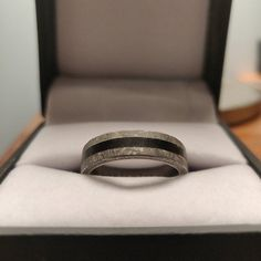 and dark inlays create a wedding band which is sure to stand the test of time! Unique Wedding Bands, Wedding Jewelry, Wedding Rings, Fossil, Bones, Shops, Take That, Etsy Shop, Engagement Rings