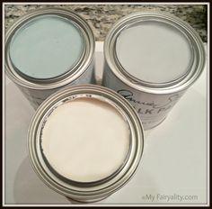 Annie Sloan Chalk Paint.  Colors left to right : Duck Egg, Paris Grey, Old White