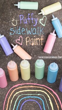 Puffy Sidewalk Paint is part of Fun summer activities - This DIY Puffy Sidewalk Paint is so easy to make! No need to buy storebought when you can make this simple recipe with only a few ingredients Summer Activities For Kids, Fun Crafts For Kids, Summer Kids, Crafts To Do, Toddler Activities, Projects For Kids, Diy For Kids, Diy Projects, Kids Fun