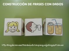 LOVE this idea! Create die with pictures of the the subject, another with a verb, and the other with the object. Spanish Teaching Resources, Spanish Activities, Language Activities, Spanish Lessons, Educational Activities, Speech Therapy Activities, Speech Language Therapy, Speech And Language, Teaching Reading