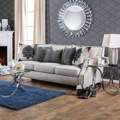 Furniture of America Rita Contemporary Nailhead Sloped Arm Sofa