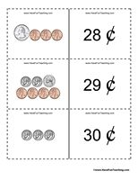 Money Flash Cards - These money flash cards will help teach and review counting coins from 1 cent to 1 dollar. Download May Take 3-4 Minutes – Please Be Patient