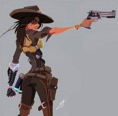 Lady Mccree (Genderbent McCree from Overwatch) Female Character Design, Character Design References, Character Concept, Character Art, Concept Art, Character Poses, Fantasy Characters, Female Characters, Estilo Disney