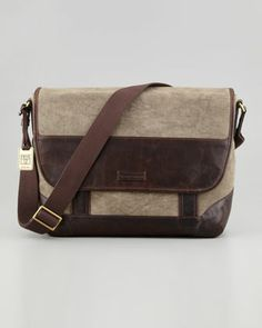 Harvey Leather & Canvas Messenger Bag, Dark Brown by Frye at Neiman Marcus.