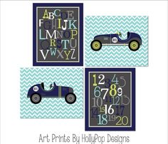 """Car wall art Toddler boy bedroom decor Baby boy nursery prints Alphabet number print set Modern boy nursery decor Nursery wall art - SET OF 4 UNFRAMED ART PRINTS #1403. 4 UNFRAMED Art prints printed on a professional grade photo paper. Colors can be changed! Just select """"custom colors"""" before you add the item to your cart. A proof will be provided and adjustments made if necessary before going to print. Prints size 8x10 or 11x14 will be shipped in a flat mailer. Prints sized 12x16 and…"""