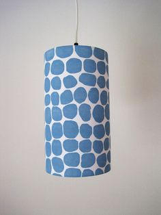 Hand Printed Modern Blue Dot Pendant Lampshade- hanging drum lamp shade- made from handprinted fabric