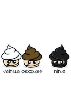 Look there is 2 normal cupcakes. vainilla and chocolate. but wait there is a ninja too Ninja Cupcakes, Cartoon Cupcakes, Love Cupcakes, Funny Cupcakes, Ninja Cake, Cupcake Recipes, Cupcake Cakes, Cupcake Ideas, Cupcake Art