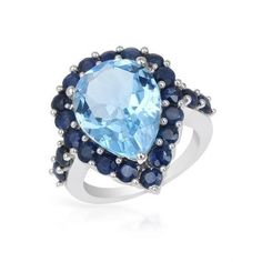 Cocktail Ring With 12.94ct TW Precious Stones - Genuine Sapphires and Topaz Made of 925 Sterling silver. Total item weight: 7.7g -