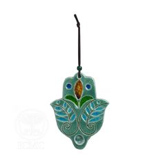 Turquoise Ceramic Hamsa with Olive Branch Design and Scrolling Lines