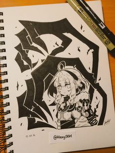 Inktober Day 3: My OC Mylett (the girl) and Aleph (the demon on her back)