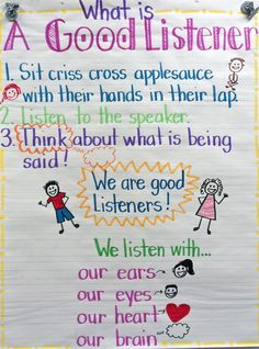 Good Listener Anchor chart-this would be perfect with Howard B Wigglebottom Learns to Listen! Super Effective Program Teaches Children Of All Ages To Read. Incredible Results   http://qoo.by/2mHQ
