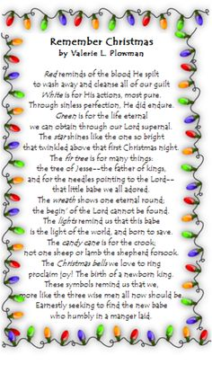 Remember Christmas poem by Valerie Plowman
