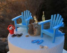 Beach Theme Wedding Cake Topper - BASIC SET ONLY  - Classic Adirondack Chairs & Flip Flops - by Landscapes In Miniature