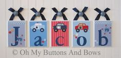 Hanging Name Letters . Name Blocks . Nursery Decor . Police Cars