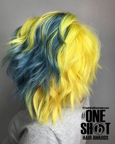 Pelo Multicolor, Multicolored Hair, Shot Hair Styles, Pinterest Hair, Yellow Hair, Dye My Hair, Cool Hair Color, Hair Colour, Crazy Hair