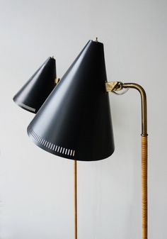 PAAVO TYNELL, Pair of floor lamps, model K10-10. Designed late 1940s, manufactured by Idman Oy, Finland. Material brass, painted alumium, cane wrapping and painted steel. / 1stDibs